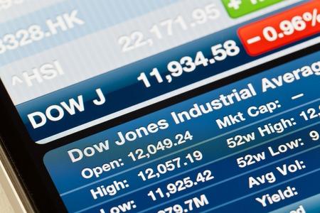 dow: Hong Kong, China - June 25, 2011: Dow Jones Industrial Average on iPhone Stocks app