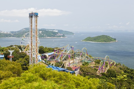 Hong Kong, China - July 9, 2011: Rides in the Ocean Park Hong Kong. It is one of the most popular travel destinations in Hong Kong, especially among tourists from the mainland. Publikacyjne