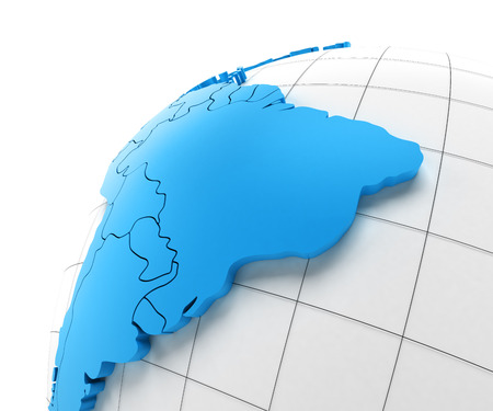 extruded: Globe of South America with national borders, 3d render Stock Photo