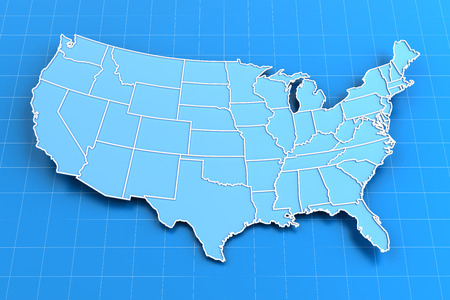 Extruded Map Of USA With State Borders D Render Stock Photo - Us map with state lines