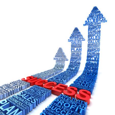 Business success arrows, 3d render, white background