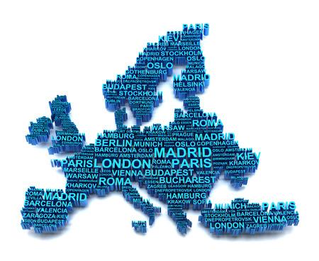 mapa de europa: Mapa de Europa formado por los nombres de las principales ciudades, 3d Foto de archivo