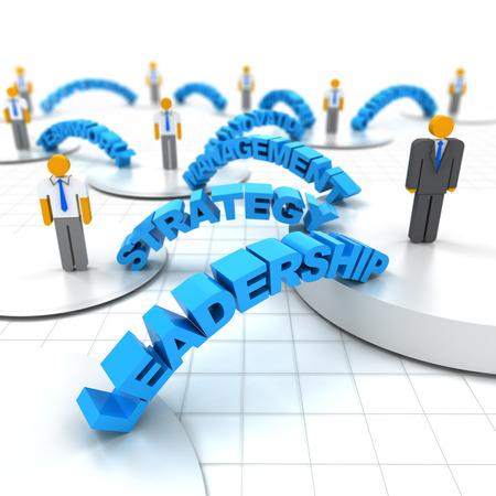 liderazgo empresarial: Negocios concepto de liderazgo con las palabras, 3d