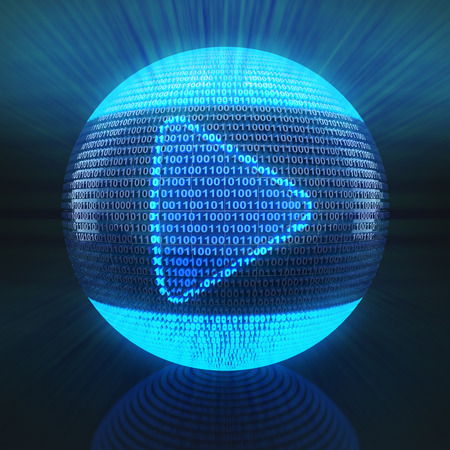 video player: Play icon on globe formed by binary code, 3d render