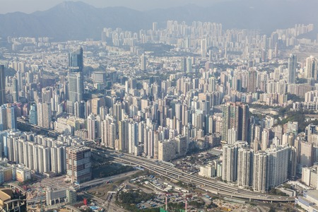 populated: View of densely populated area in Kowloon, Hong Kong