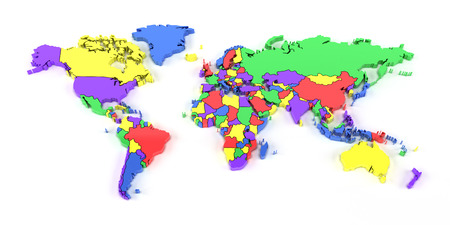 world map countries: Colourful world map with national borders, 3d render