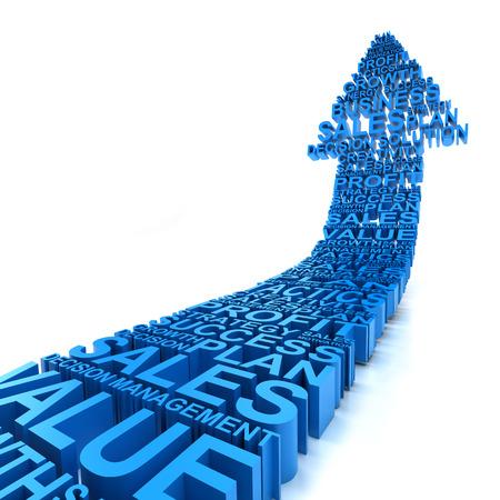 affari: L'aumento 3d frecce formate da parole alle imprese, Archivio Fotografico