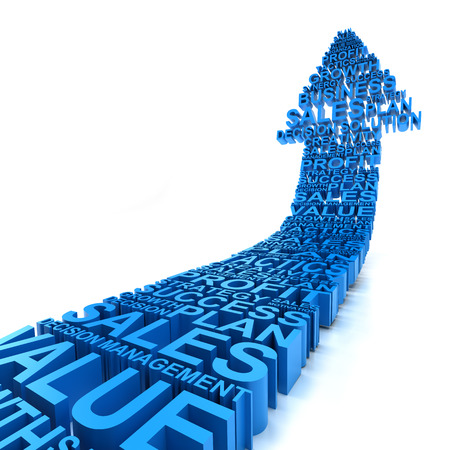 success strategy: Rising 3d arrows formed by business related words,