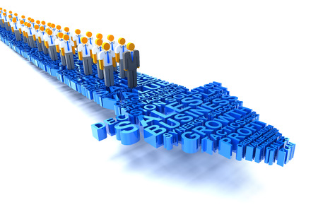business team: 3d render of business team on an arrow formed by business related words