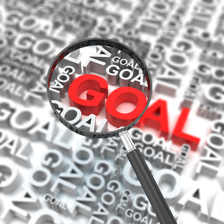 clear strategy: Business goal with magnifying glass, 3d render