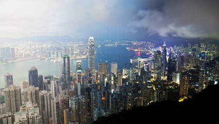 Panoramic view of Hong Kong from day to night Reklamní fotografie