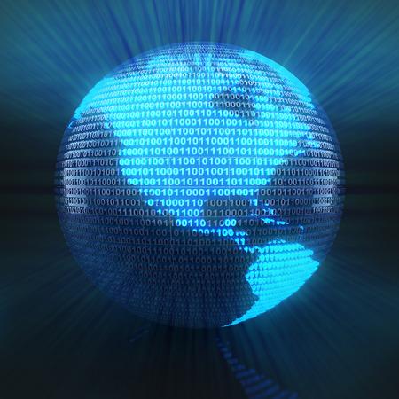 codigo binario: Mapa del mundo en el globo formado por el código binario, 3d