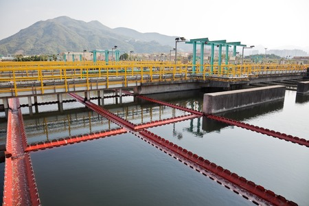 sewage treatment plant: Sedimentation tanks in a sewage treatment plant