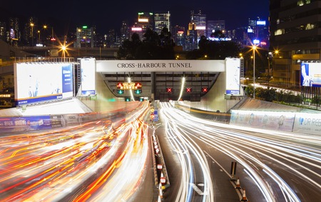congested: Hong Kong, China - June 19, 2015: Busy traffic of the Cross Harbour Tunnel in Hong Kong. It is one of the most congested roads in Hong Kong. Editorial