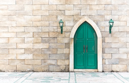 arches: Front view of an Arabic door with copyspace