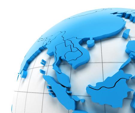 Globo del sudeste de Asia con las fronteras nacionales, 3d Foto de archivo - 43120778