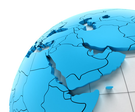 middle east: Globe of Middle east with national borders, 3d render Stock Photo