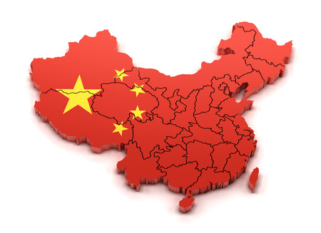 provinces: Map of China with provinces and national flag, 3d render