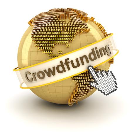 signos de pesos: Crowdfunding símbolo con el globo formado por signos de dólar, 3d, fondo blanco