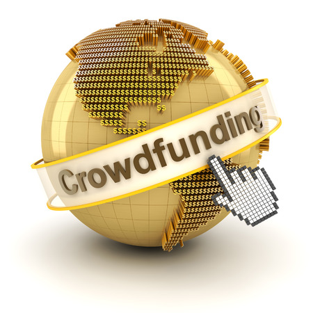 funding: Crowdfunding symbol with globe formed by dollar signs, 3d render, white background Stock Photo