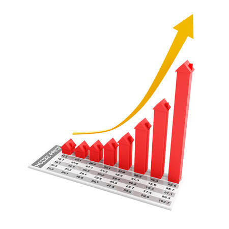 house prices: Chart showing increasing house prices, 3d render