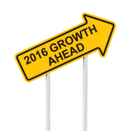 year increase: 2016 growth ahead road sign, 3d render