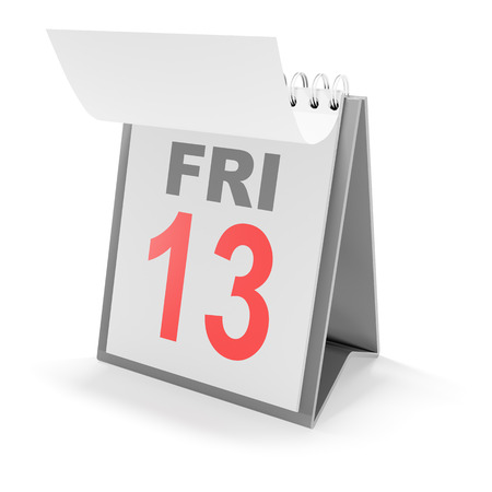 unlucky: 3d render of calendar showing Friday the 13th Stock Photo