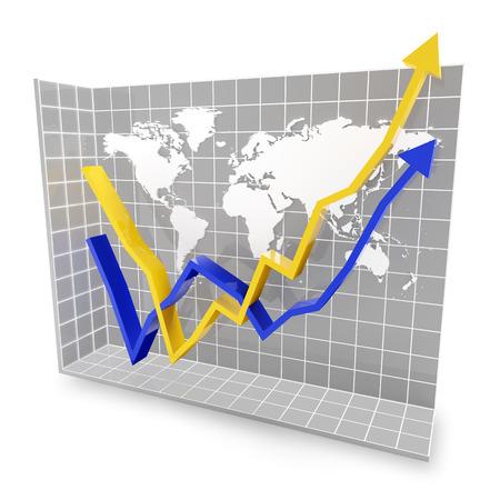 rebound: Graph showing rebound trend with world map, 3d render
