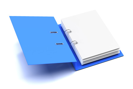 file folder: Opened folder with blank page, 3d render