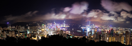 finanical: High resolution panoramic view of Hong Kong at night, created by stitching multiple images Stock Photo