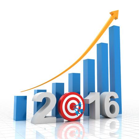 2016 meta de crecimiento, 3d, blanco Foto de archivo - 43541739