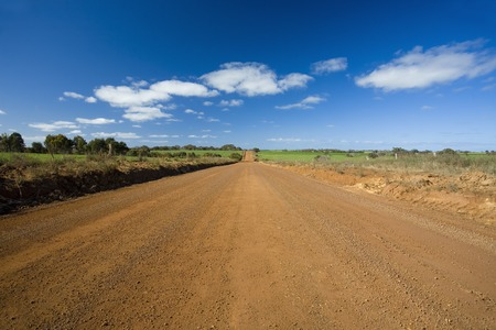 rough road: Unsealed road and blue sky in Kangaroo Island, Australia