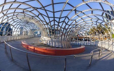 webb: Melbourne, Australia - May 18, 2015: View of Webb Bridge in Docklands, Melbourne. Webb Bridge is a specially designed bridge over the Yarra River.