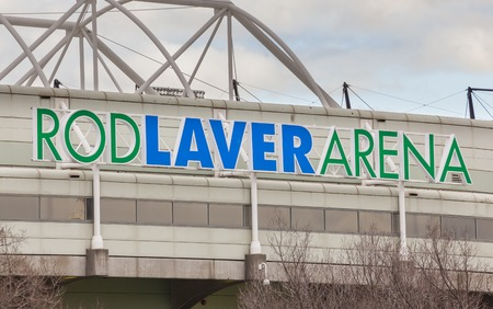 rod sign: Melbourne, Australia - Aug 2, 2015: Close-up view of the sign of Rod Laver Arena in Melbourne, Australia. It is a multipurpose arena and the main venue for the Australian Open in tennis. Editorial