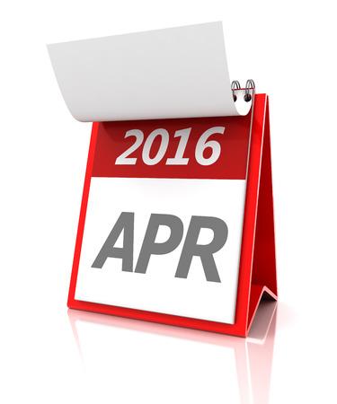 calendar: 2016 April calendar, 3d render, white