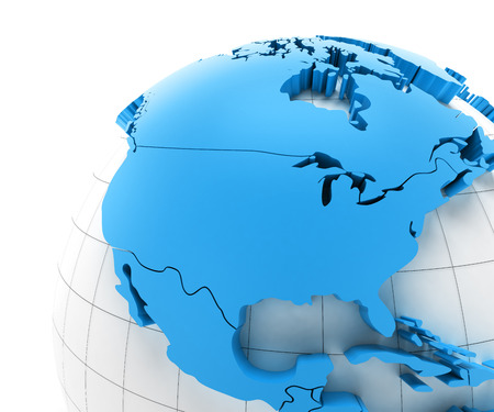 Globe of USA with national borders, 3d render