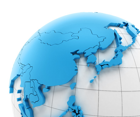 national borders: Globe of Asia with national borders, 3d render Stock Photo