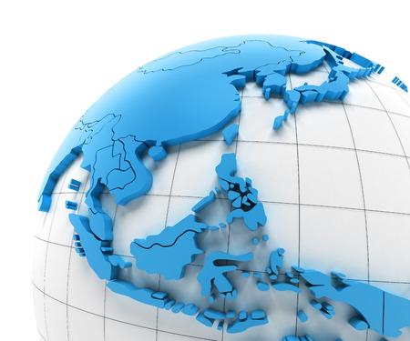 oriente: Globo del sudeste de Asia con las fronteras nacionales, 3d