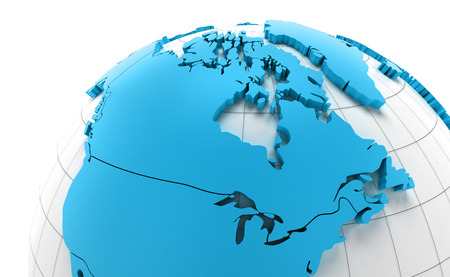 national borders: Globe of Canada with national borders, 3d render