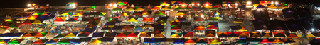 kota kinabalu: Panoramic view of night market at Kota Kinabalu, Sabah, Malaysia, produced by stitching several images together