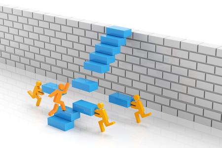 팀워크가 장애물 개념을 극복하기 위해, 3d 렌더링