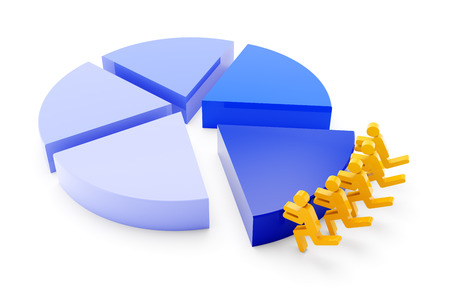 one team: Pie chart with team of workers pushing one segment, 3d render Stock Photo