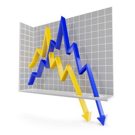 trend: Line chart with falling trend, 3d render