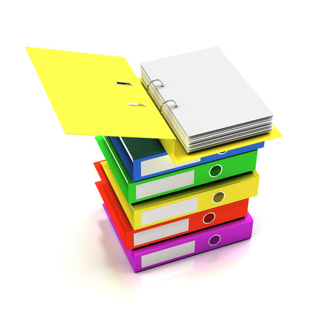 organizer: Stack of folders with blank page, 3d render Stock Photo