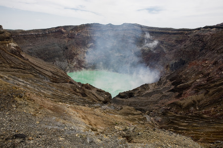 Caldera of Mount Aso in Japan which is one of the largest calderas in the world Stock Photo