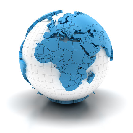world map blue: Globe with extruded continents and national borders, Europe and Africa region Stock Photo