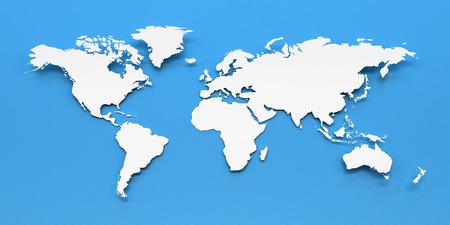 Blanco mapa del mundo de papel contra el fondo azul, 3d Foto de archivo