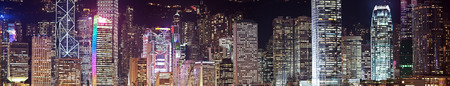 finanical: Panorama of skyscrapers in Hong Kong at night