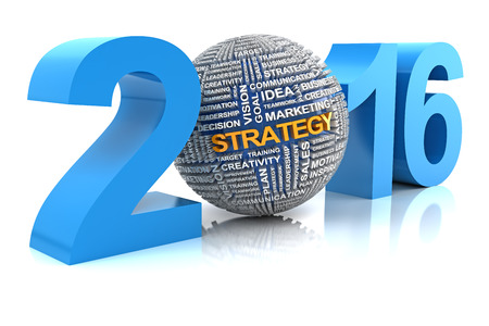 business words: Business strategy in 2016, 3d render, white background