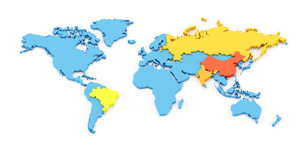 bric: 3d map of the fast growing developing economies of Brazil, Russia, India, and China, known as BRIC Stock Photo